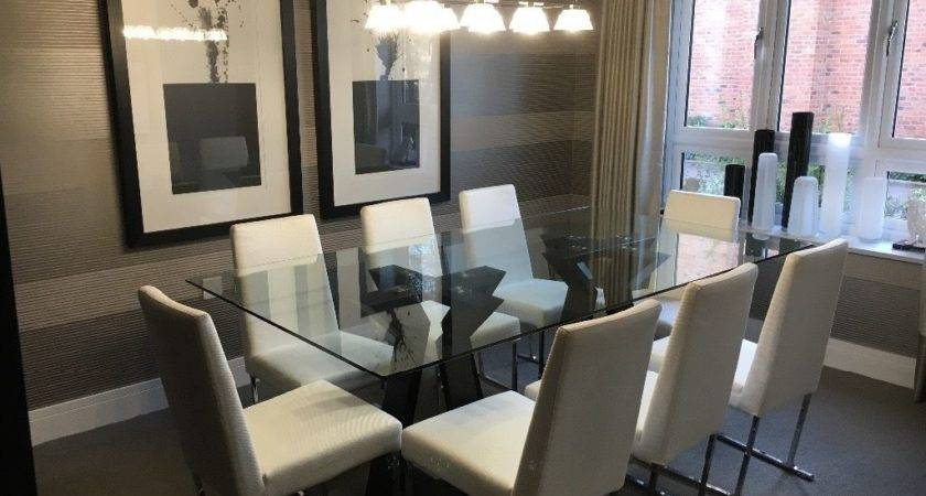 Show Home Dining Room Glass Table Chairs Fleet