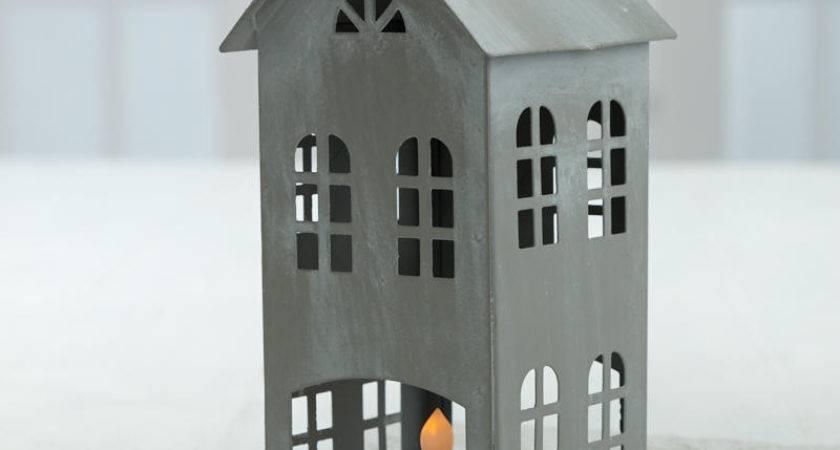 Silver Colonial Saltbox House Ornament Decorative