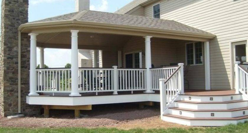 Simple Porch Designs Partially Covered Deck Large