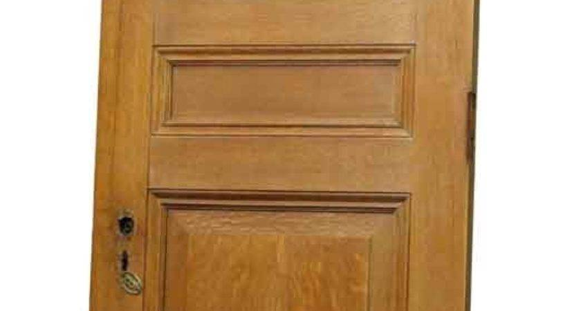 Single Three Panel Tiger Oak Door Faux Finish Olde