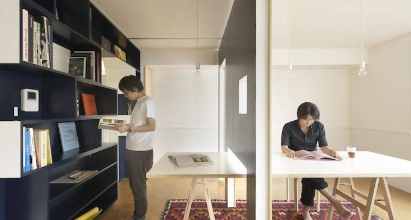 Sliding Walls Turn Tiny Apartment Into Home Office