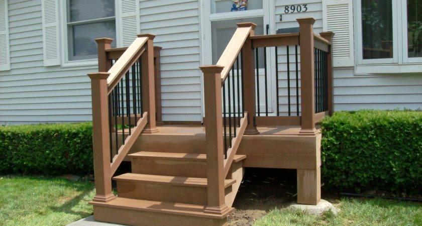 Small Back Deck Steps Porch Shown Timbertech