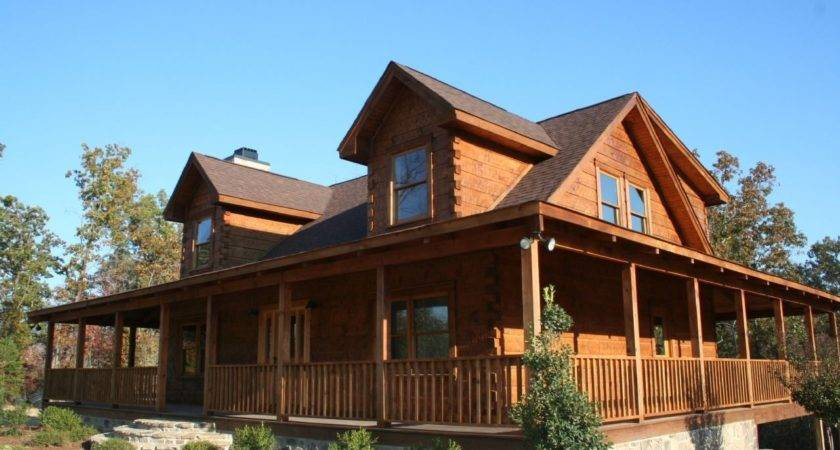 Small Log Homes Wrap Around Porch
