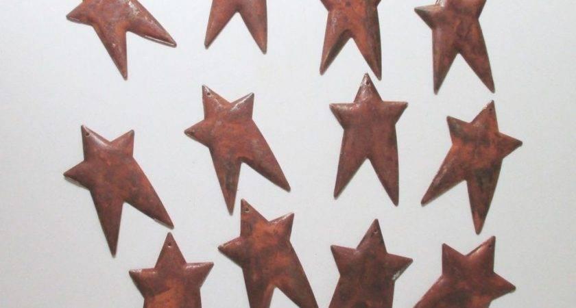 Small Primitive Rusty Tin Stars Home Decor