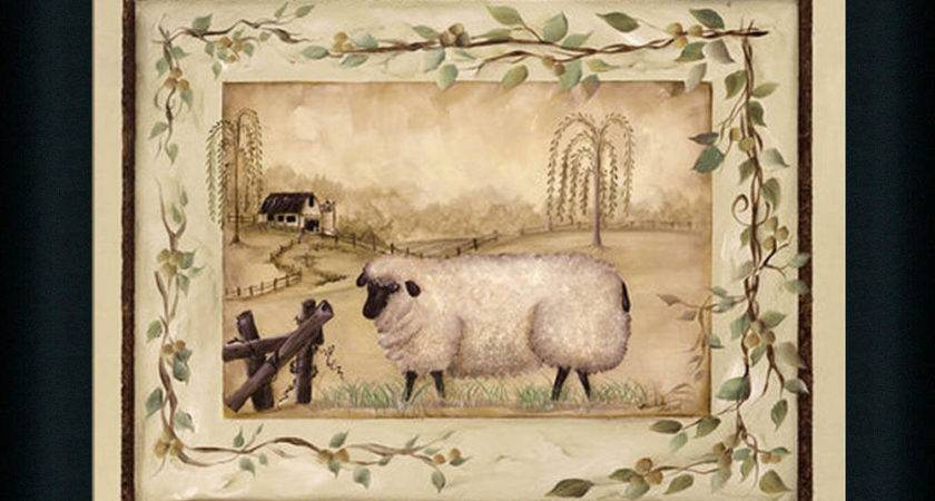 Spring Sheep Michele Musser Country Primitive Framed