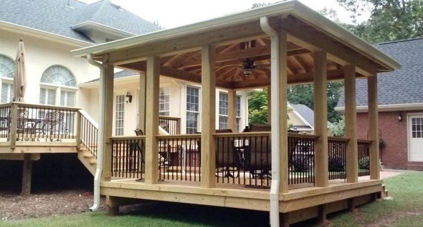 Standing Deck Plans Open Porch Hip Roof Hall