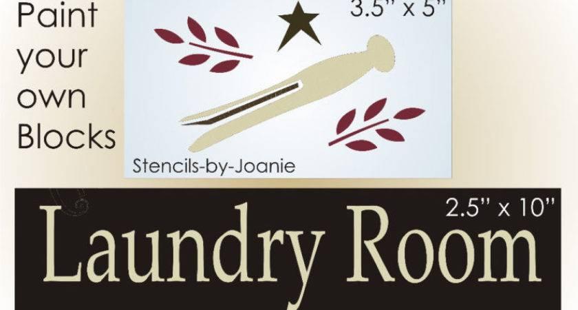 Stencil Primitive Laundry Room Star Wood Vintage