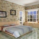 Stone Accent Wall Bedroom Rectangle Brown Leather Divan