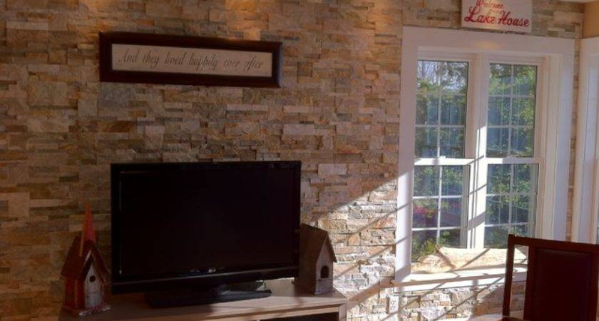 Stone Accent Wall Natural Ledge Stacked Beach