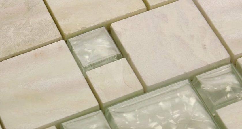 Stone Glass Tile Mirror Square Wall Backsplash