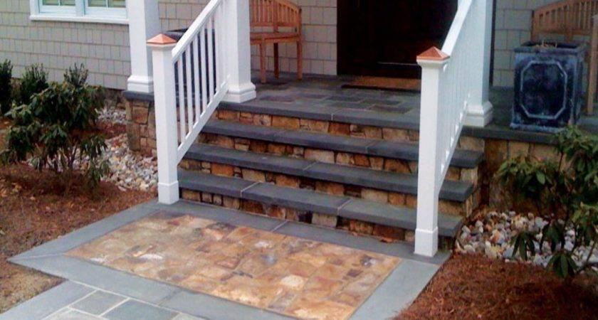 Stone Patios Concrete Front Porch Step Ideas Steps