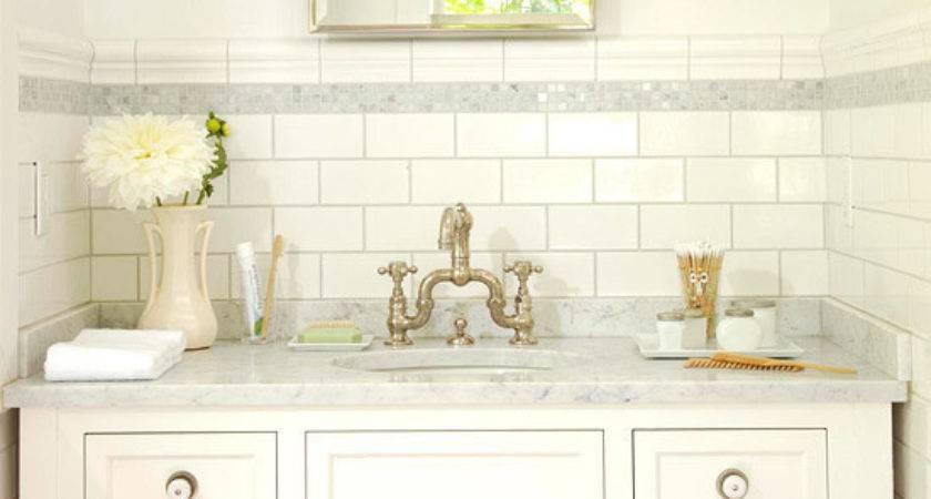 Subway Tile Backsplash Cottage Bathroom Bhg