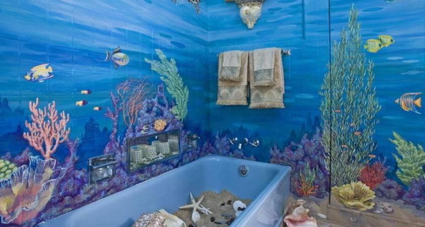 Superb Ocean Theme Decor Bathroom Wall