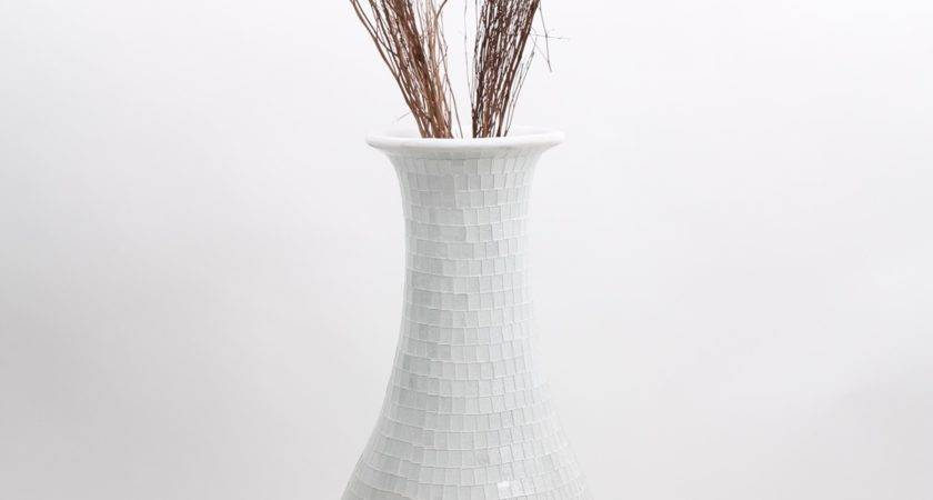 Tall Floor Vase Glass Mosaic Ceramic White