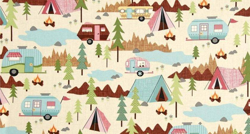 Timeless Treasures Camping Allover Cream Fabric