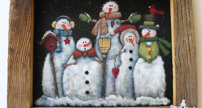 Tole Painting Pattern Glacier Men Snowmen Group