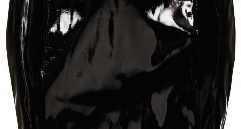 Topshop Black Vinyl Pelmet Skirt Lyst