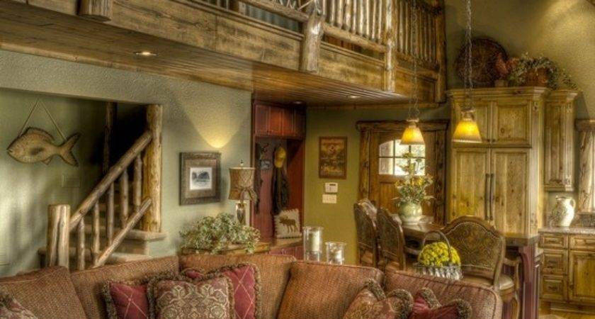 Traditional Room Log Cabin Decorating Design