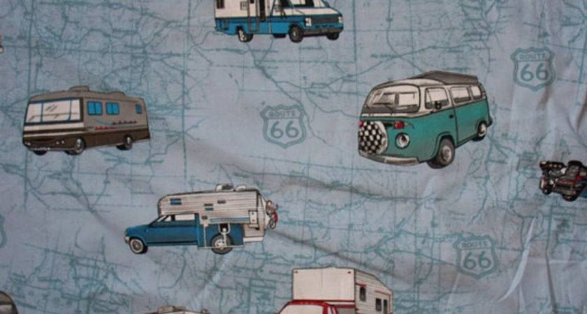 Trailer Bus Truck Motorcycle Retro Cotton Fabric