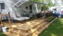 Trailer Deck Enhances Outdoor Living Space Camping