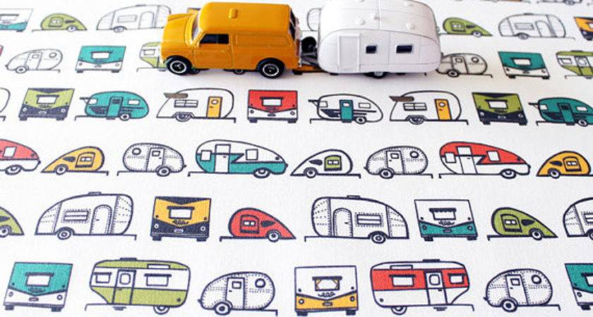 Travel Trailer Cotton Fabric Camper Vitamini