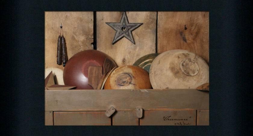 Treenware Primitive Country Wooden Bowls Framed Art Print