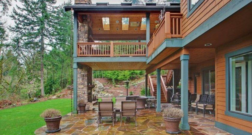 Two Level Covered Deck Rustic Seattle