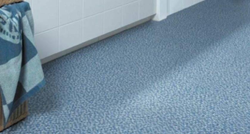 Ultramodern Blue Pattern Bathroom Linoleum Flooring Design