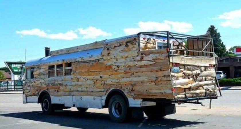 Unique Wooden Bus Custom Back Porch