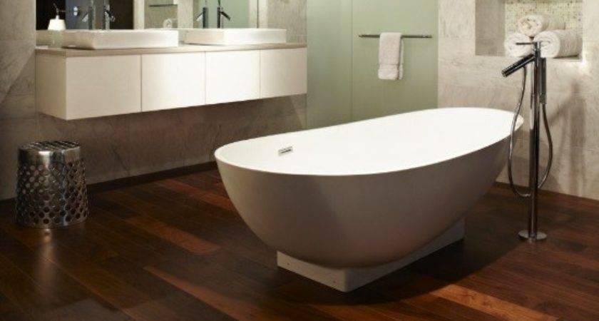 Using Wood Floor Bathroom Create Some Natural Look