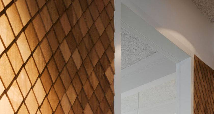 Using Wood Shingles Create Accent Wall Adds Warmth
