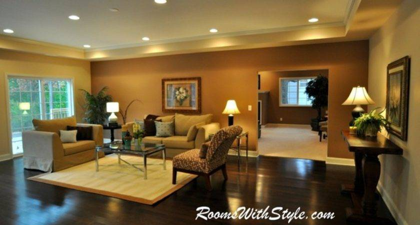 Vacant Model Home Staging Eclectic Living Room