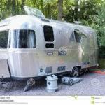 Vintage Airstream Trailer Campsite Editorial