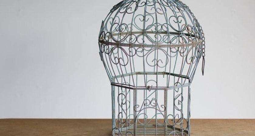 Vintage Birdcage Light Blue Bird Cage Home Decor