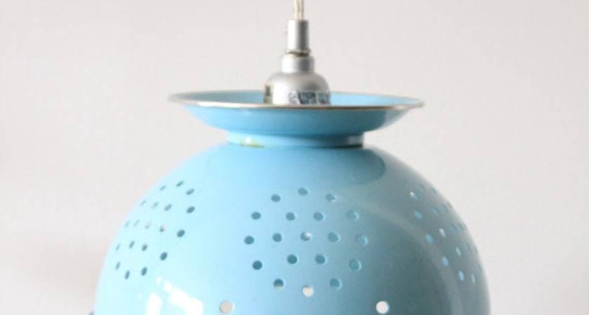 Vintage Blue Colander Hanging Pendant Light
