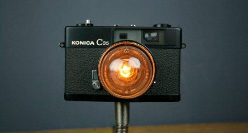 Vintage Camera Lamps Upcycle