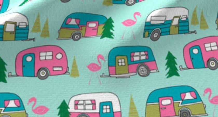 Vintage Camper Mint Pink Campervan Fabric