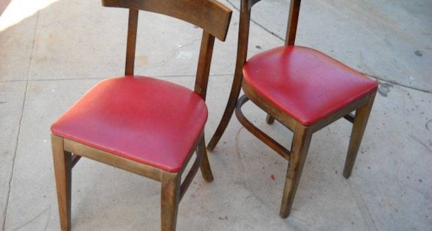 Vintage Diner Chairs Solid Wood Vinyl Covered Seats