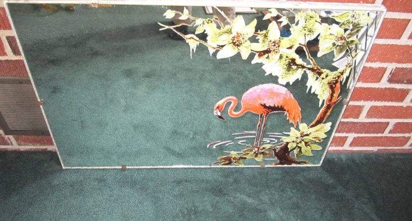 Vintage Fabulous Pink Flamingo Mirror Excellent