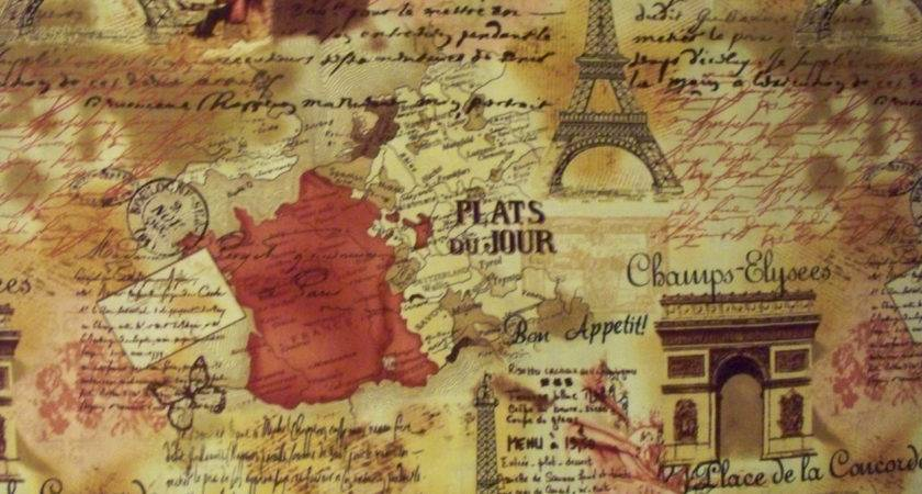 Vintage Paris Travel Eiffel Tower Map Brown Cranberry Cotton