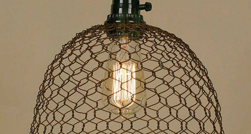Vintage Rustic Industrial Chicken Wire Dome Pendant Light