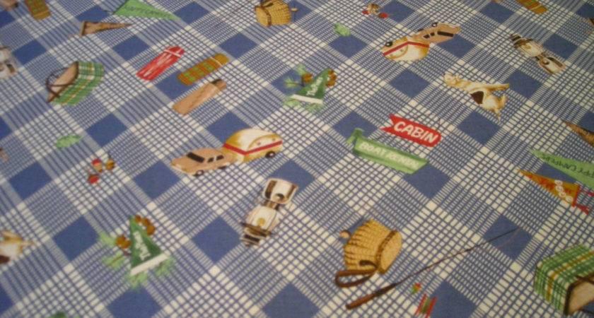 Vintage Style Happy Campers Camping Fabric Moda Destash Oop