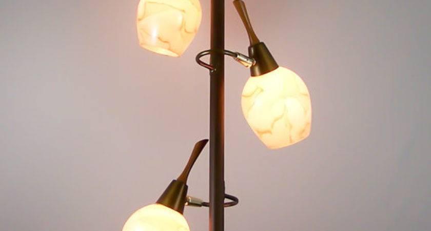 Vintage Tension Pole Lamp Eames Era Glass Globes Floor