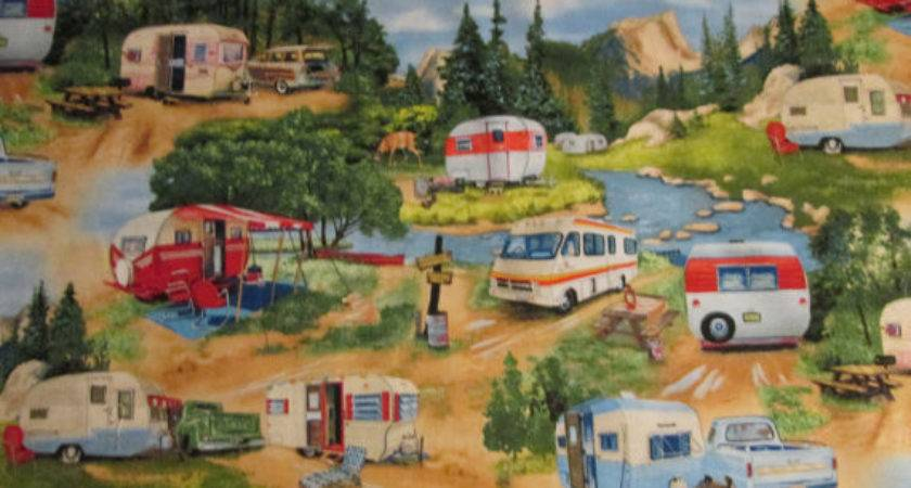 Vintage Trailer Retro Trucks Cotton Fabric