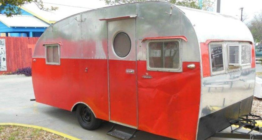 Vintage Trotwood Travel Trailer Canned Ham Camper