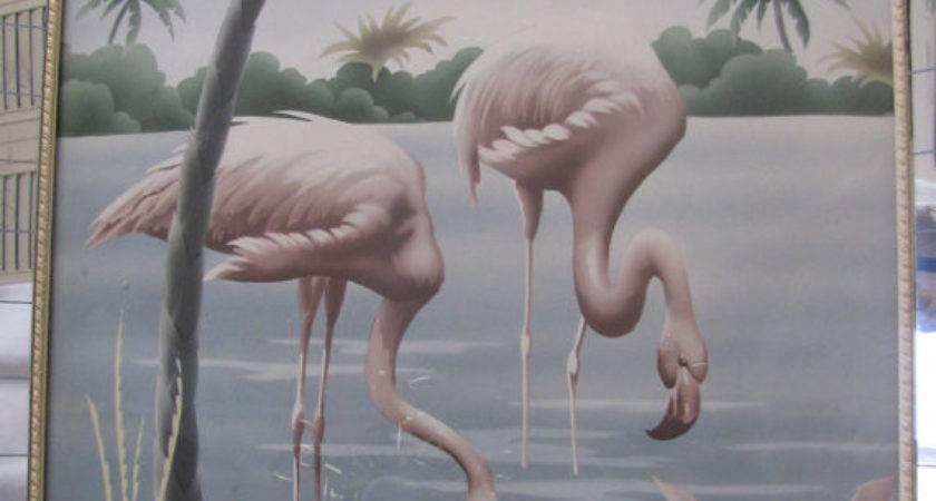 Vintage Turner Flamingo Print Mirrored Frame
