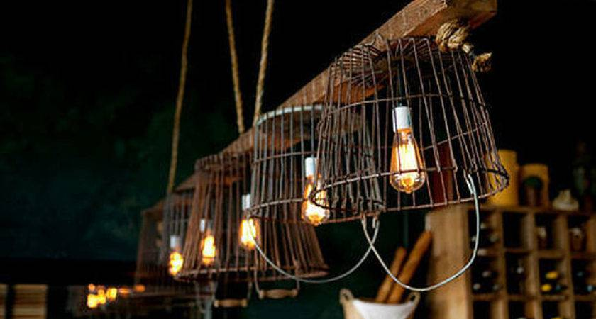 Vintage Wire Baskets Turned Into Light Fixtures Decoist