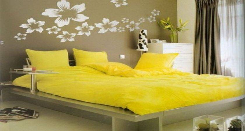 Wall Painting Design Bedrooms Yellow Themed Bedroom