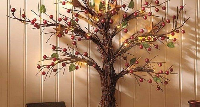 Wall Sculpture Tree Lighted Art Rustic Country Primitive
