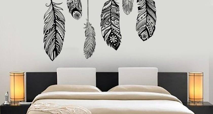 Wall Vinyl Decal Feather Romantic Bedroom Dreamcatcher